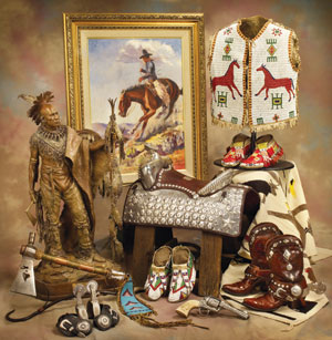 Weighorst painting, beaded vest, silver saddle, tomahawk,spurs, boots, moccasins