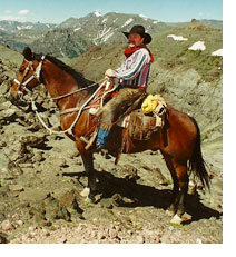 Brian Lebel on his horse at Mt. Baldy