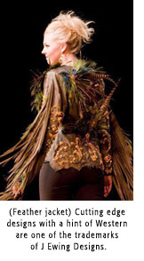 Model wearing feather jacket