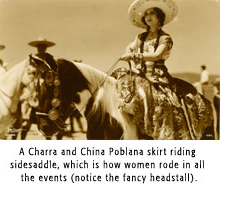 A Charra and China Poblana skirt riding sidesaddle