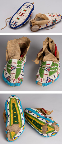 Collage of Cheyenne child's moccasins and Lakota moccasins