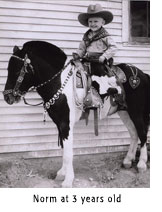 Photo of Norm Moldenhauer on horse at 3 years old
