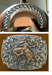 Detail of saddle and belt buckle