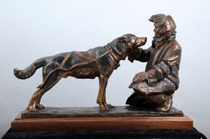 sled dogs sculpture