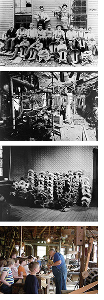 Collage of old Schroeder factory photos