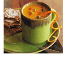 Mug of delicious curried pumpkin soup!