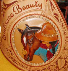 detail of one of Lisa's saddles